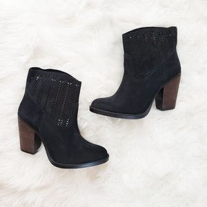 Coolway NEW Leather Suede Laser Cut Black Bootie